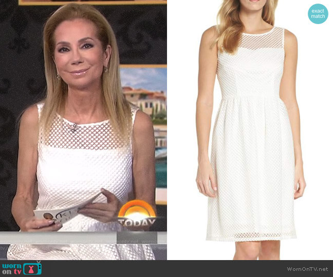 Embroidered Diamonds Fit & Flare Dress by Adrianna Papell worn by Kathie Lee Gifford on Today