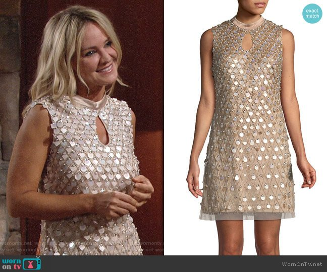 Aidan Mattox Embellished Sleeveless Keyhole Mini Dress worn by Sharon Collins (Sharon Case) on The Young & the Restless