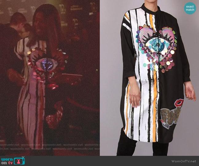 Eye Heart You Sequin Shirt Dress by Akira worn by Ta'Rhonda Jones on Empire
