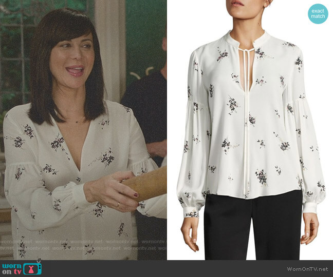 Ty Lantern Sleeve Floral-Print Silk Blouse by ALC worn by Catherine Bell on Good Witch