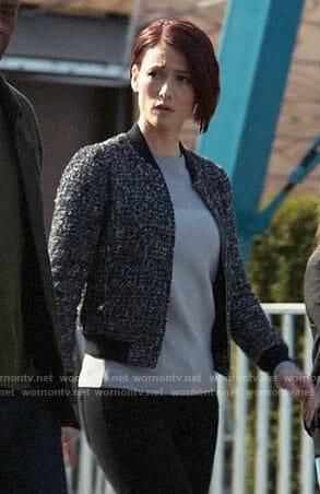 Alex's tweed bomber jacket on Supergirl