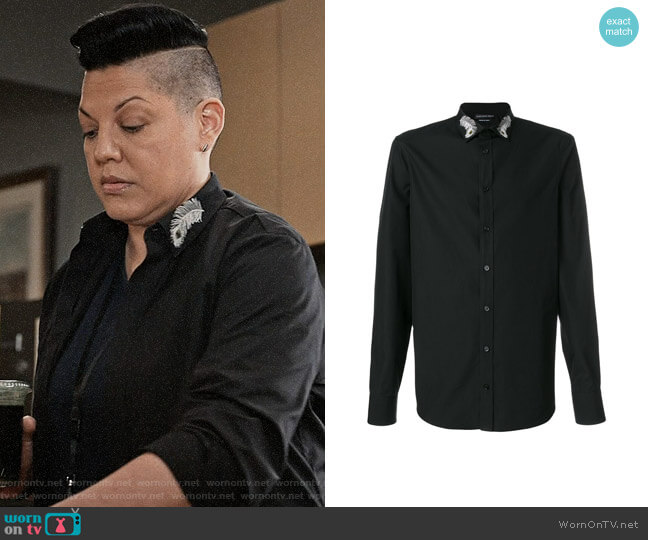 Alexander McQueen Peacock Feather Embroidered Collar Shirt worn by Sara Ramirez on Madam Secretary