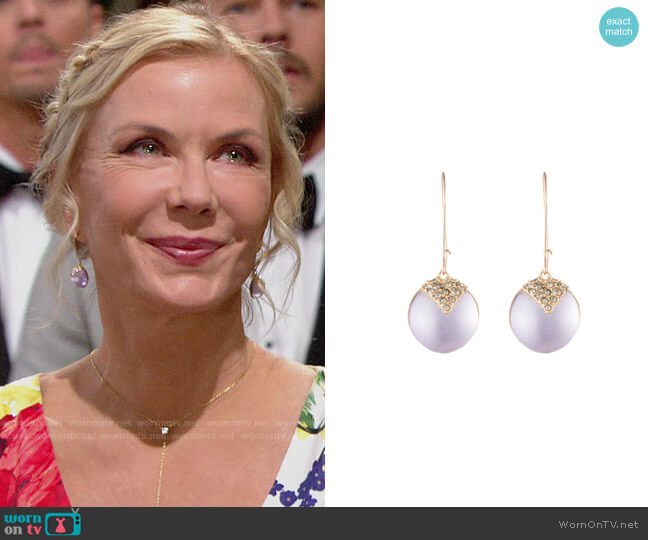 Alexis Bittar Origami Inlay Dangling Sphere Earrings worn by Katherine Kelly Lang on The Bold & the Beautiful