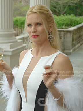 Alexis's white mesh inset gown on Dynasty