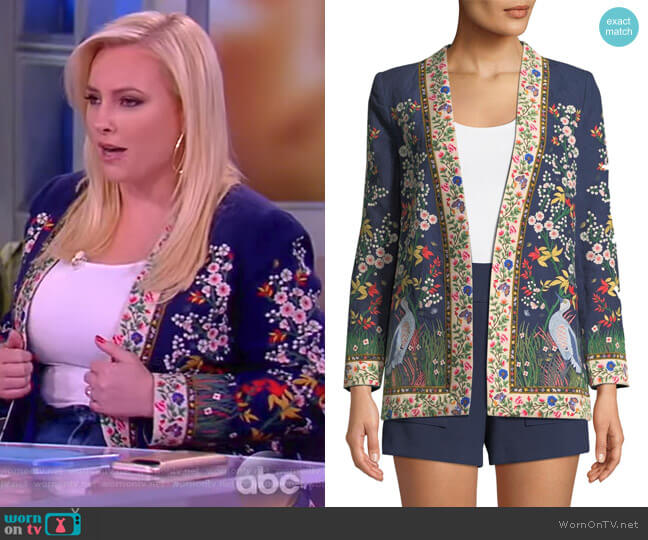Jenice Floral-Embroidered Long Linen Blazer by Alice + Olivia worn by Meghan McCain  on The View