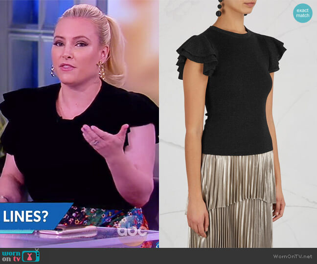 Kenia metallic wool blend top by Alice + Olivia worn by Meghan McCain  on The View