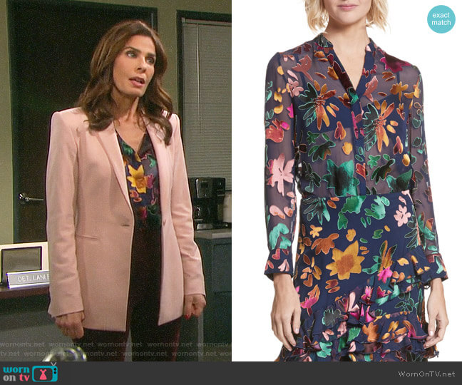 Alice + Olivia Amos Blouse worn by Kristian Alfonso on Days of our Lives