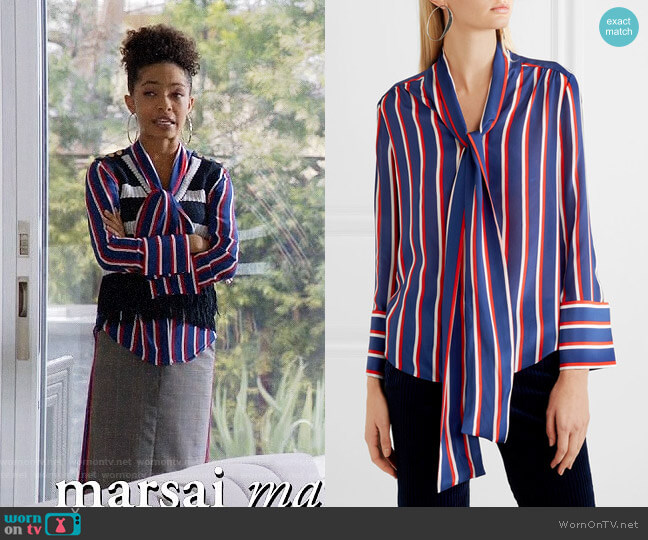 Alice + Olivia Arie Blouse worn by Yara Shahidi on Blackish