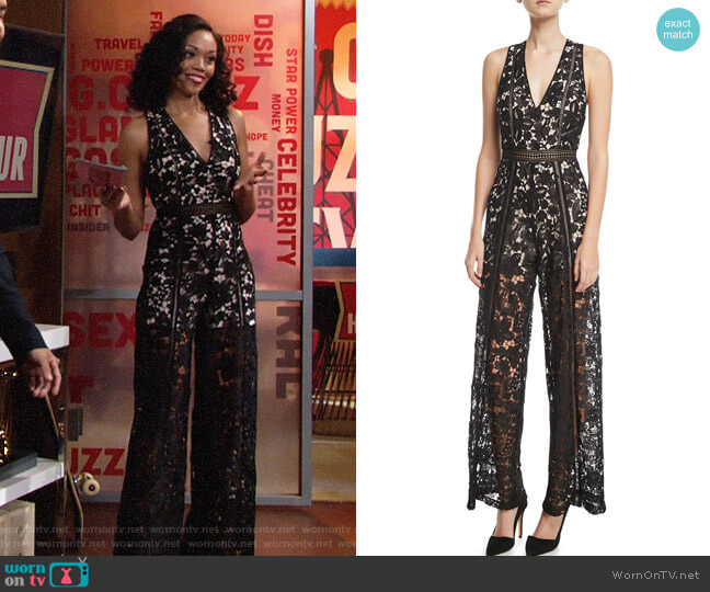 Alice + Olivia Chels Jumpsuit worn by Mishael Morgan on The Young & the Restless