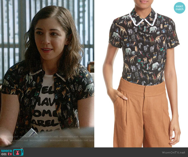 Alice + Olivia Willa Animal Print Shirt worn by Cable McCrory (Annabelle Attanasio) on Bull