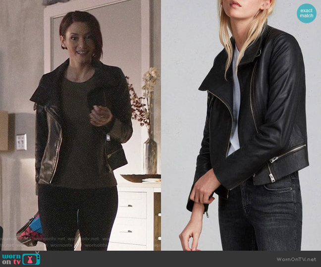All Saints Bales Leather Biker Jacket worn by Alex Danvers (Chyler Leigh) on Supergirl