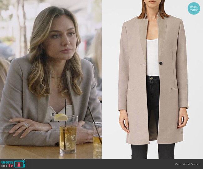 All Saints Leni Coat worn by Megan Morrison (Christine Evangelista) on The Arrangement