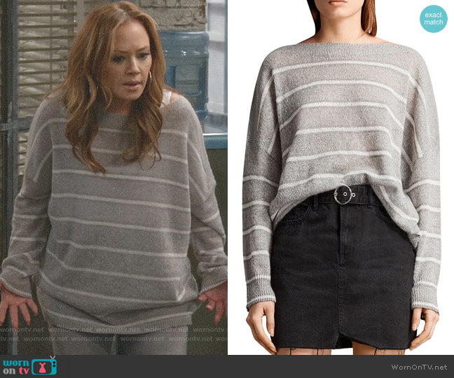 Misty Striped Sweater by All Saints worn by Leah Remini on Kevin Can Wait