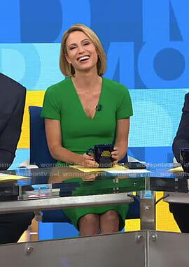 Amy's green v-neck sheath dress on Good Morning America