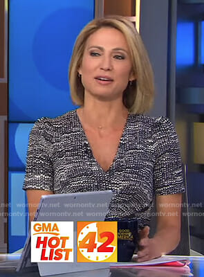 Amy's printed v-neck dress on Good Morning America
