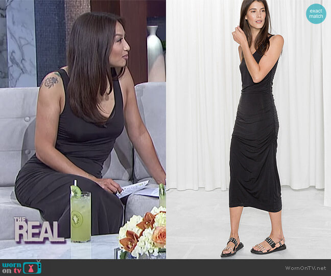 Ruched Midi Dress by & Other Stories worn by Jeannie Mai  on The Real