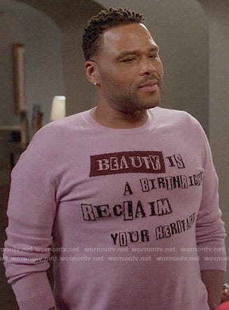 Andre's purple Beauty.. sweater on Black-ish
