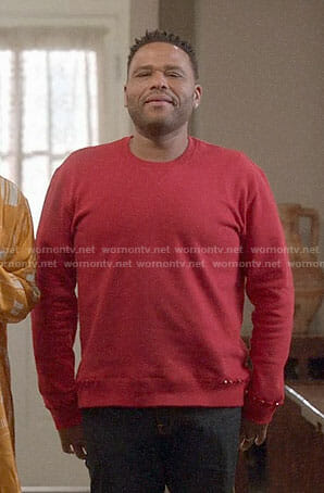 Andre's red studded sweatshirt on Black-ish