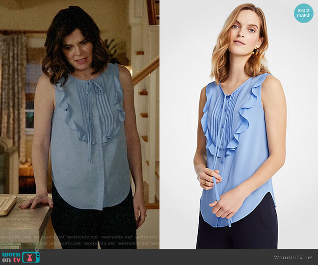 Ann Taylor Pintucked Ruffle Bib Shell worn by Heather Hughes (Betsy Brandt) on Life in Pieces