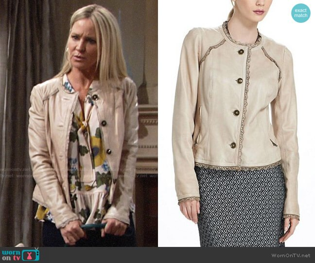 Anthropologie Battenburg Leather Jacket worn by Sharon Case on The Young & the Restless