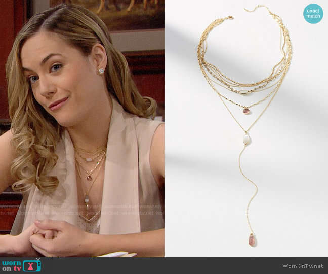 Anthropologie Logan Layered Y-Necklace worn by Hope Logan (Annika Noelle) on The Bold & the Beautiful