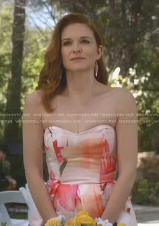 April Kepner's floral strapless gown on Grey's Anatomy