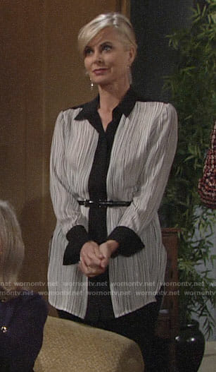 Ashley's black and white printed blouse on The Young and the Restless