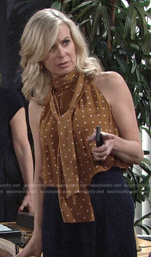 Ashley's tan polka dot tie neck top on The Young and the Restless
