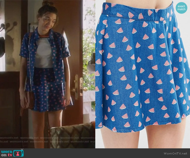 Noisy May Watermelon Print Denim Skater Skirt worn by Georgie Flores on Famous in Love