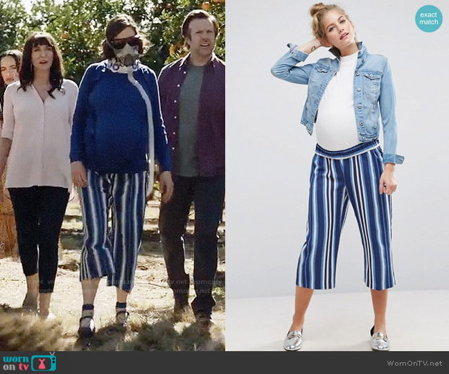 ASOS Maternity Stripe Pant worn by Kristen Schaal on Last Man On Earth