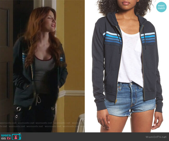5-Stripe Zip Hoodie by Aviator Nation worn by Paige Townsen (Bella Thorne) on Famous in Love