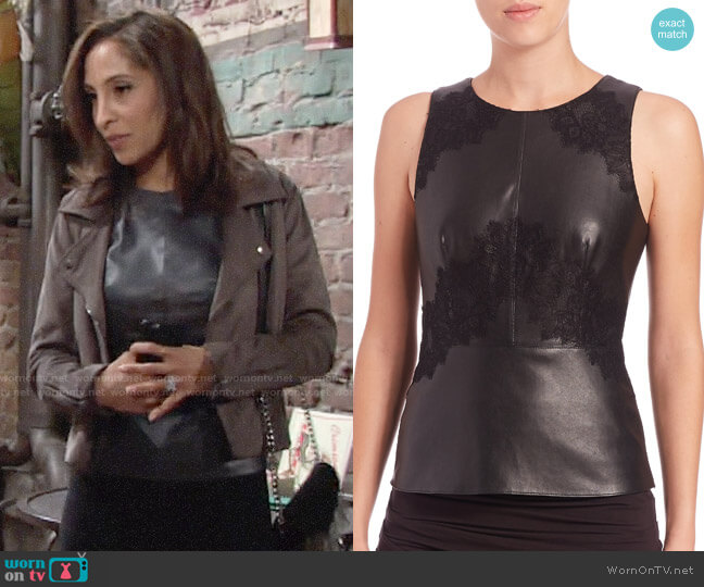 Bailey 44 Kelly Embroidered Leather top worn by Lily Winters (Christel Khalil) on The Young & the Restless