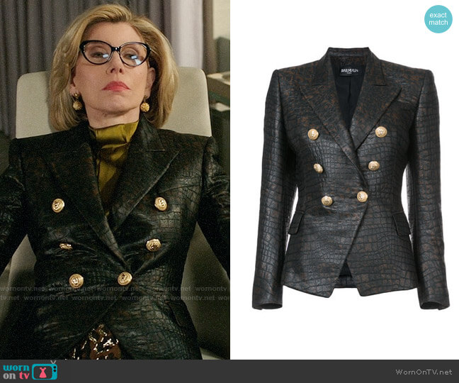 Balmain Crocodile Embossed Blazer worn by Christine Baranski on The Good Fight