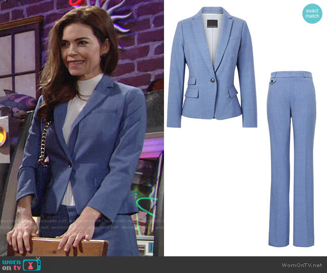 Banana Republic Fitted Crop Lightweight Wool Blazer worn by Victoria Newman (Amelia Heinle) on The Young & the Restless