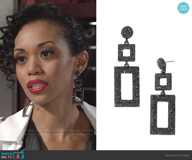 Baublebar Davalyn Earrings worn by Hilary Curtis (Mishael Morgan) on The Young & the Restless
