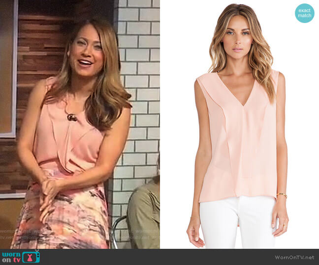 'Ellan' Top in Apricot Mist by Bcbgmaxazria worn by Ginger Zee on Good Morning America