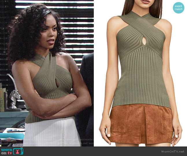 Bcbgmaxazria Bryna Top worn by Hilary Curtis (Mishael Morgan) on The Young & the Restless