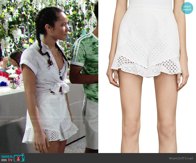 Bcbgmaxazria Janel Eyelet Shorts worn by Mattie Ashby (Lexie Stevenson) on The Young & the Restless