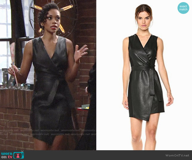 Bcbgmaxazria Layla Pleather Dress worn by Hilary Curtis (Mishael Morgan) on The Young & the Restless