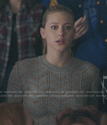 Betty's grey chevron sweater on Riverdale