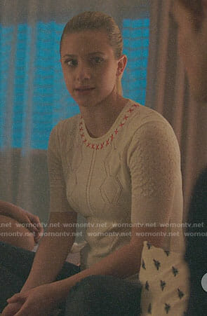 Betty's white top with x's on Riverdale
