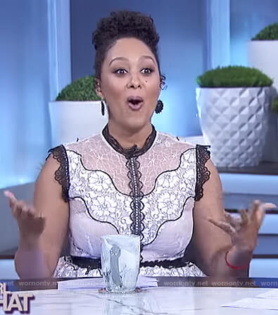Tamera's black and white floral lace dress on The Real