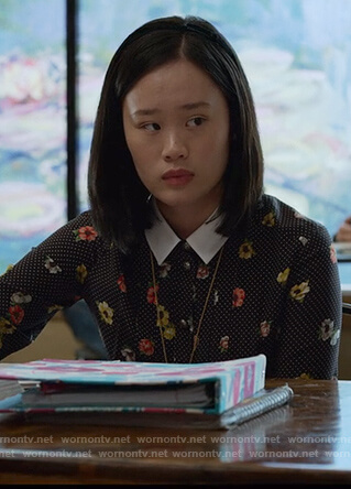 Courtney's black dot and floral print dress on 13 Reasons Why
