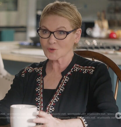 Joan's black embroidered v-neck blouse on Life in Pieces