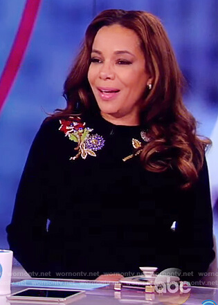 Sunny's black floral embellished sweater on The View