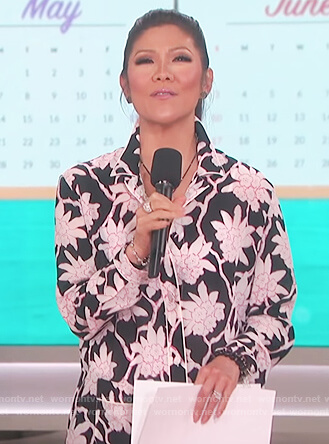 Julie's black floral print top on The Talk