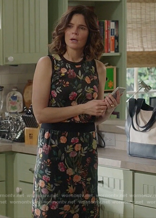 Heather's floral dress on Life in Pieces