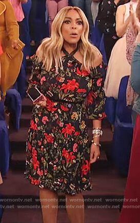 Wendy's black floral print halter neck dress on The Wendy Williams Show