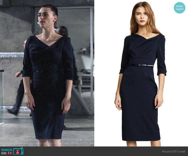 Black Halo 3/4 Sleeve Jackie O Dress worn by Kara Danvers (Melissa Benoist) on Supergirl