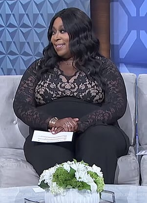 Loni's black floral lace jumpsuit on The Real